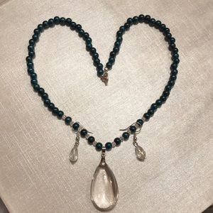 Jewelry - Dark Teal and Crystal Necklace and Earrings
